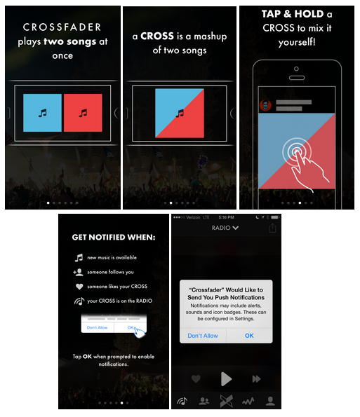aplicativo Crossfader DJ notificação