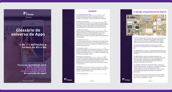 Imagem de algumas páginas que compõe o glossário de apps, como a capa, o sumário e uma seção sobre design.